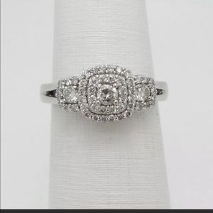 Zales 10k white gold engagement ring.